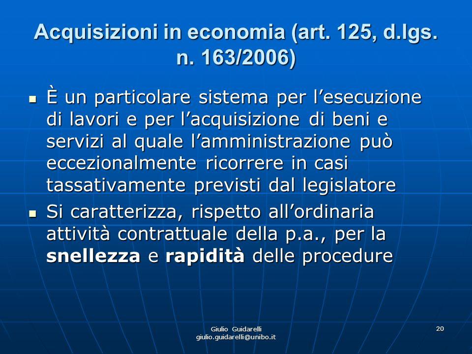 Acquisizioni in economia (art. 125, d.lgs. n. 163/2006)