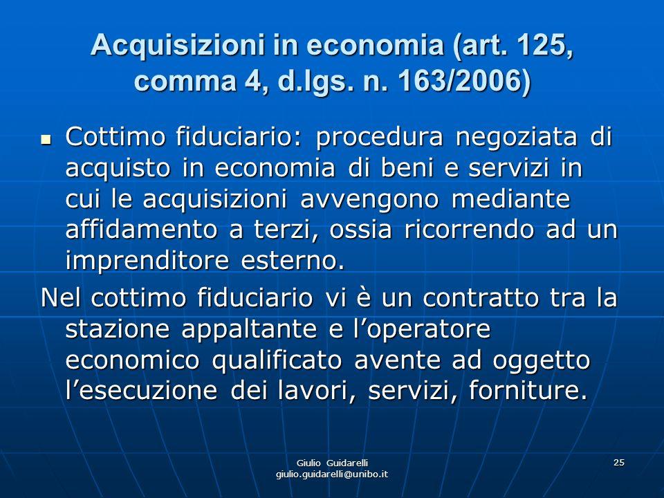 Acquisizioni in economia (art. 125, comma 4, d.lgs. n. 163/2006)
