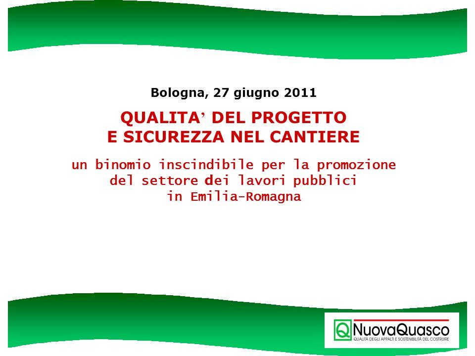 Bologna, 27 giugno 2011 QUALITA' DEL PROGETTO E SICUREZZA NEL CANTIERE un binomio inscindibile per la promozione del settore dei lavori pubblici in Emilia-Romagna