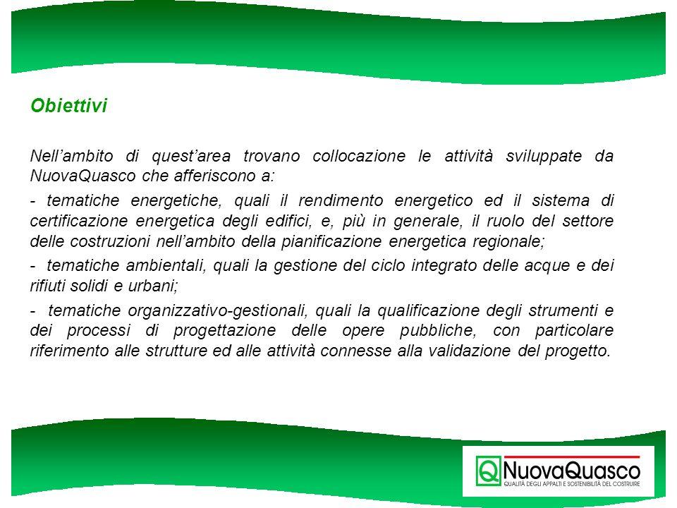 Obiettivi Nell'ambito di quest'area trovano collocazione le attività sviluppate da NuovaQuasco che afferiscono a: