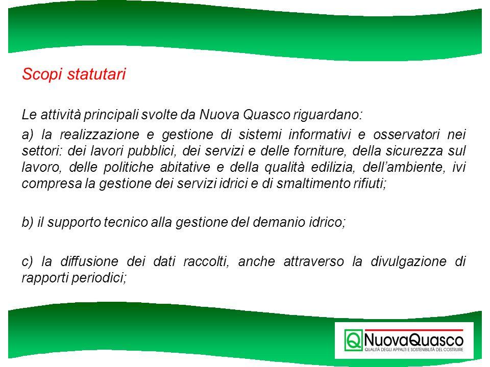 Scopi statutari Le attività principali svolte da Nuova Quasco riguardano: