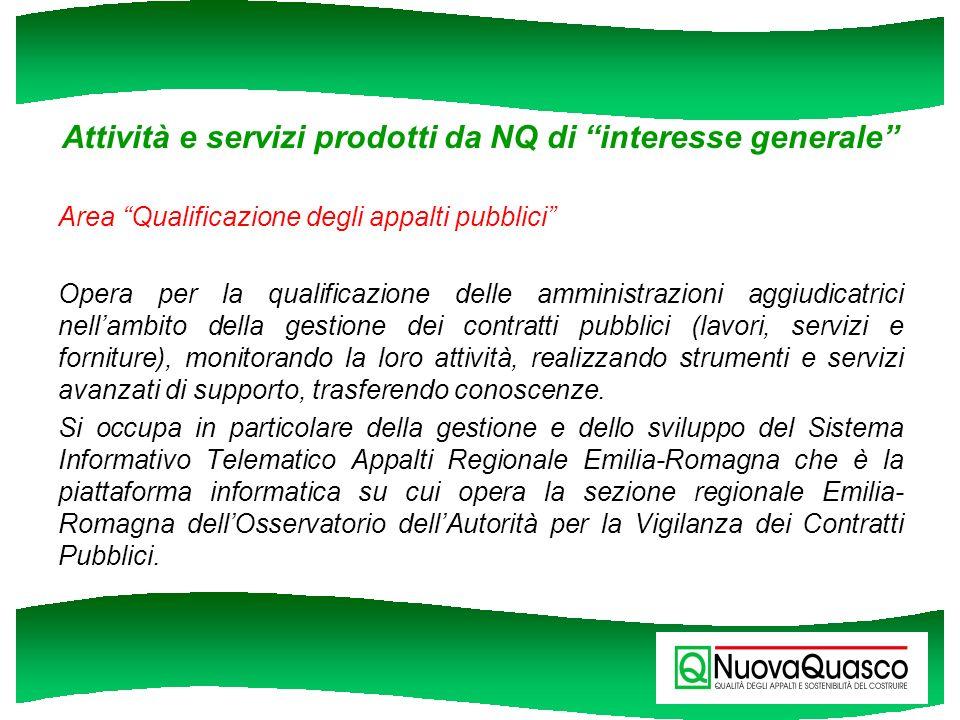 Attività e servizi prodotti da NQ di interesse generale
