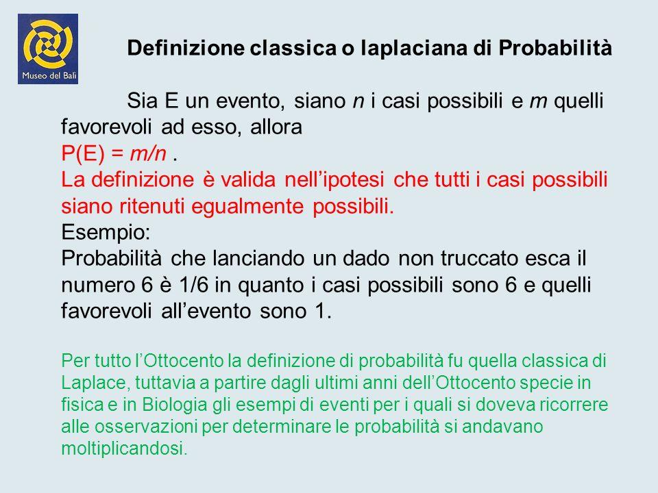 Definizione classica o laplaciana di Probabilità