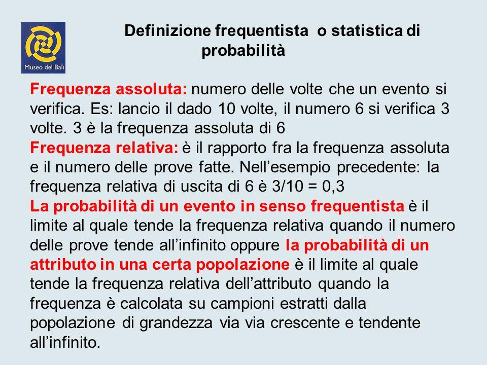 Definizione frequentista o statistica di probabilità