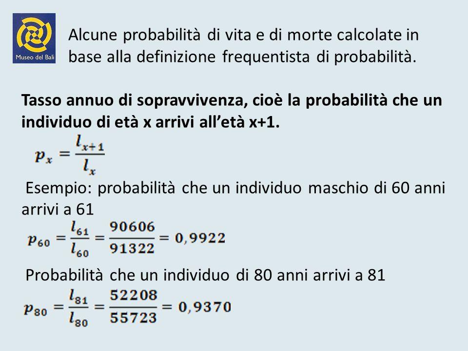 Alcune probabilità di vita e di morte calcolate in