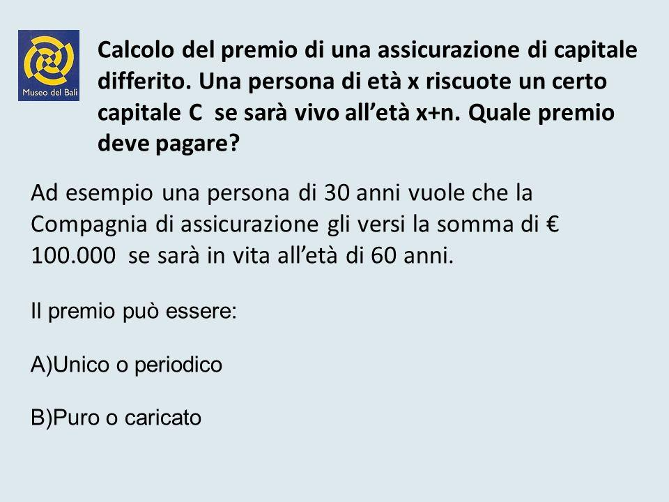 Calcolo del premio di una assicurazione di capitale. differito