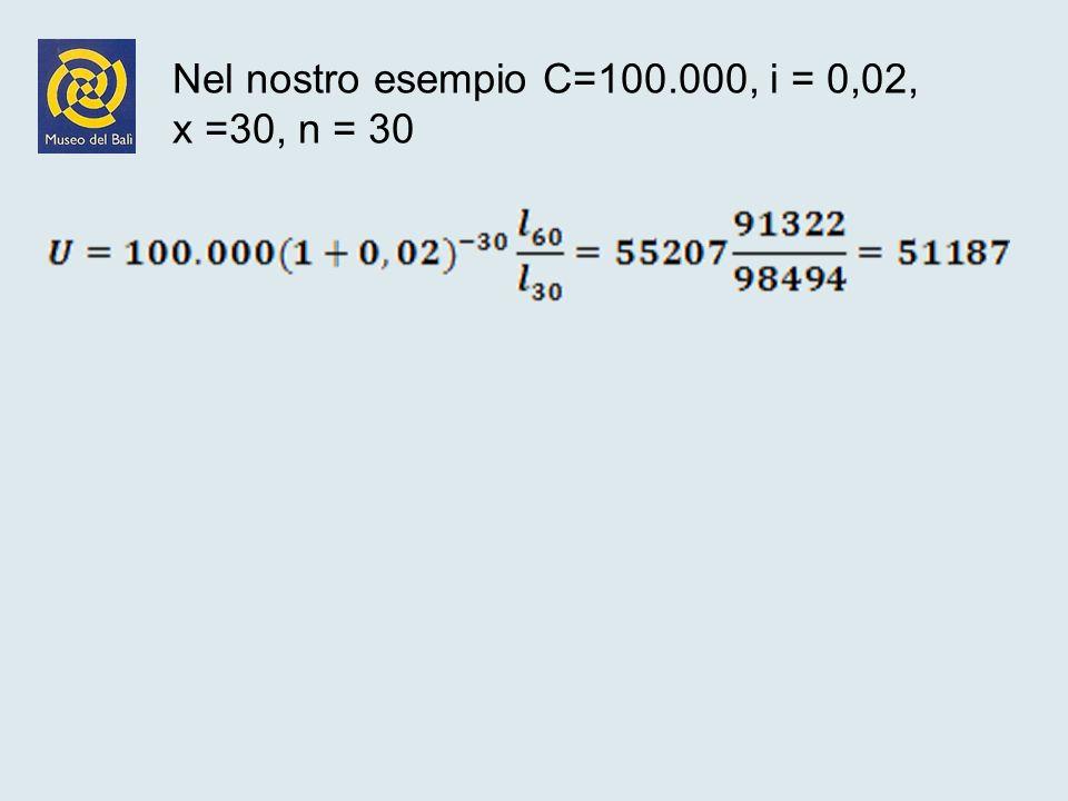 Nel nostro esempio C=100.000, i = 0,02, x =30, n = 30
