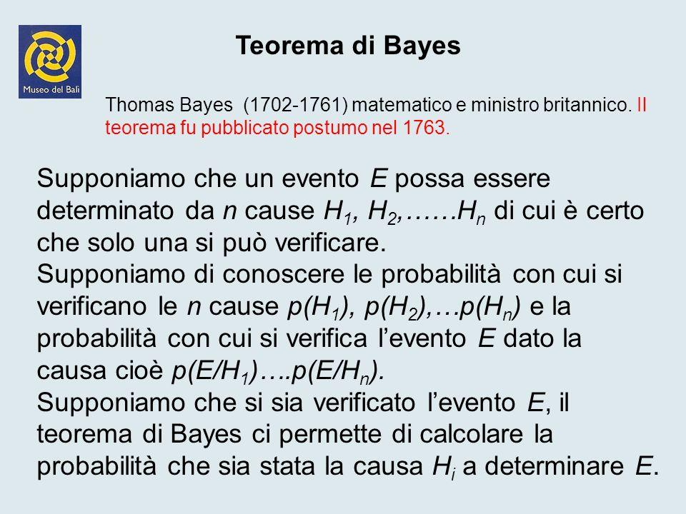 Teorema di Bayes Thomas Bayes (1702-1761) matematico e ministro britannico. Il teorema fu pubblicato postumo nel 1763.