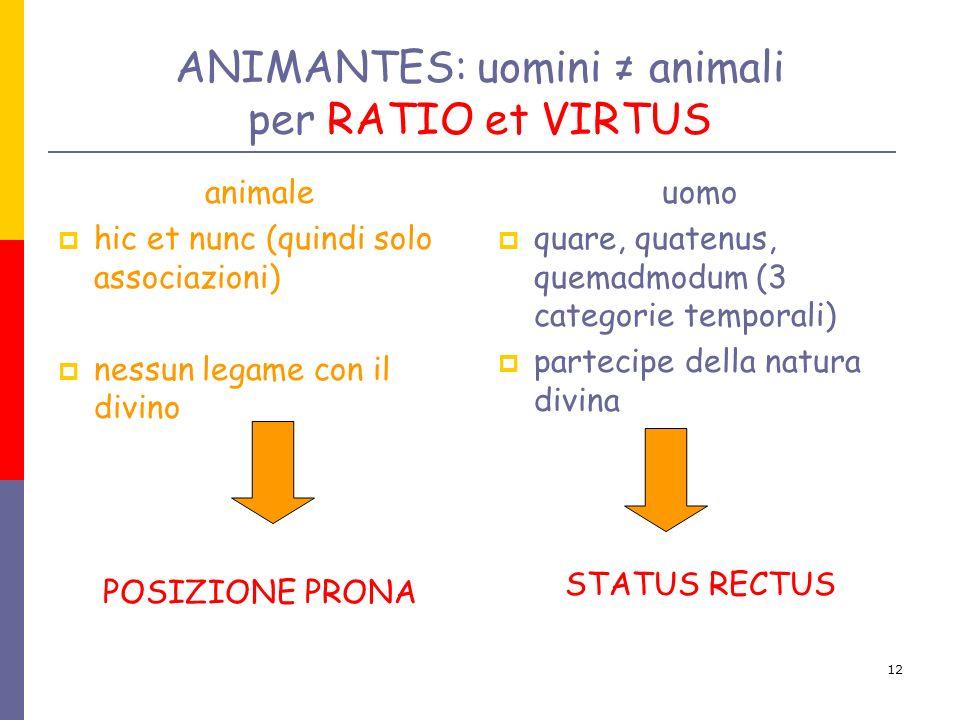 ANIMANTES: uomini ≠ animali per RATIO et VIRTUS