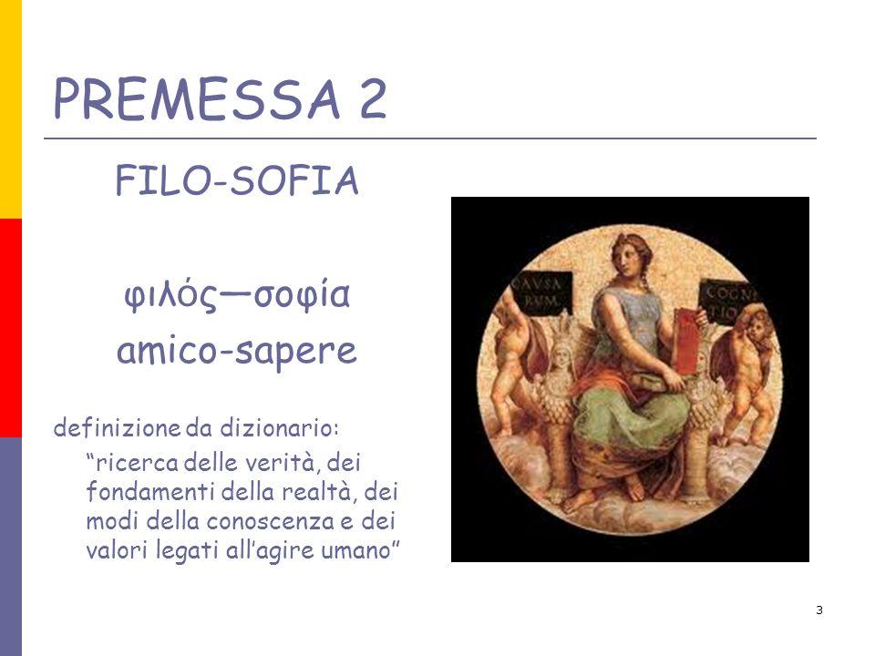 PREMESSA 2 FILO-SOFIA φιλός—σοφία amico-sapere