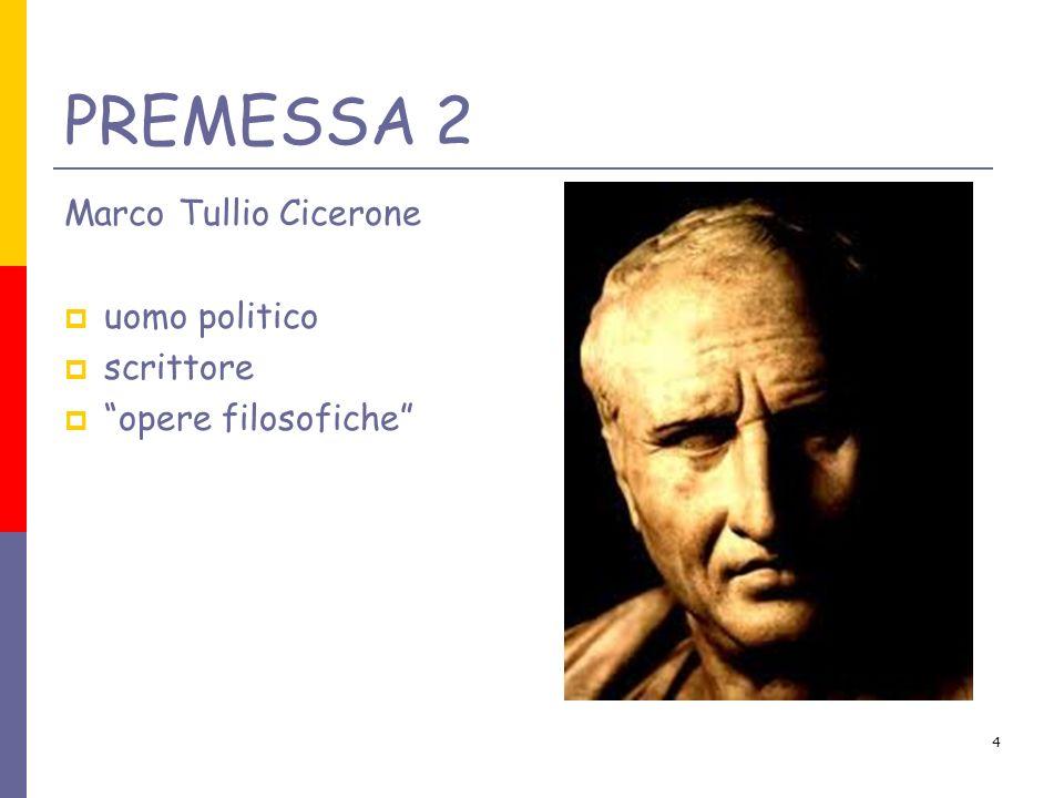 PREMESSA 2 Marco Tullio Cicerone uomo politico scrittore