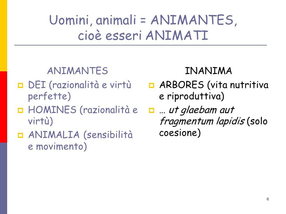 Uomini, animali = ANIMANTES, cioè esseri ANIMATI