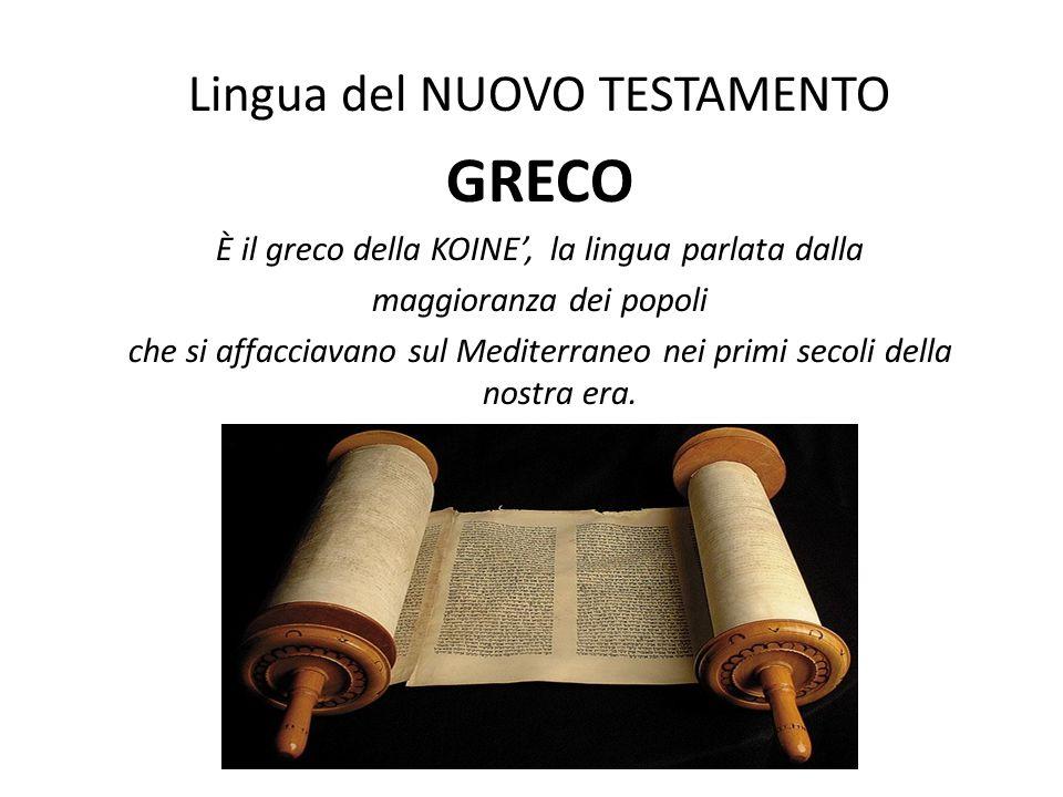 GRECO Lingua del NUOVO TESTAMENTO