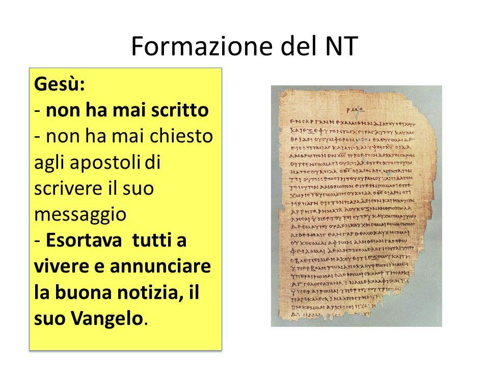 Formazione del NT Gesù: non ha mai scritto