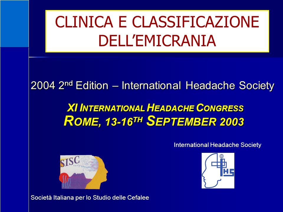 CLINICA E CLASSIFICAZIONE DELL'EMICRANIA