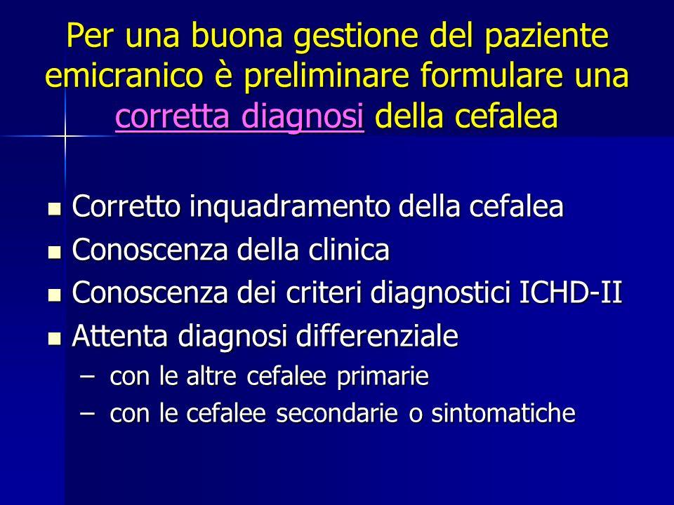 Per una buona gestione del paziente emicranico è preliminare formulare una corretta diagnosi della cefalea