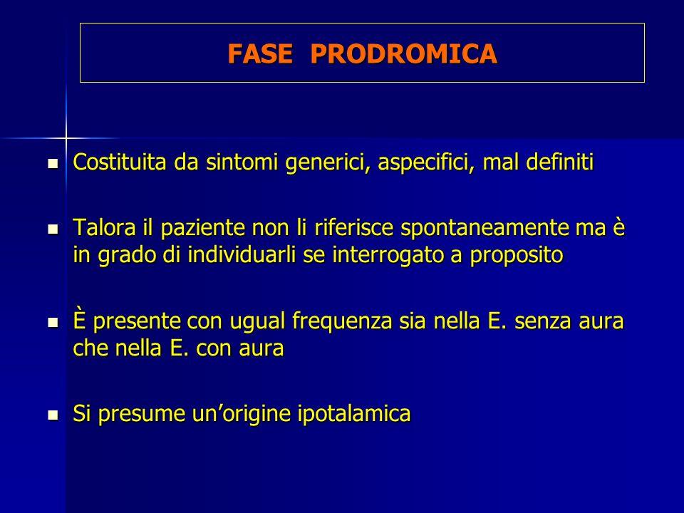 FASE PRODROMICA Costituita da sintomi generici, aspecifici, mal definiti.