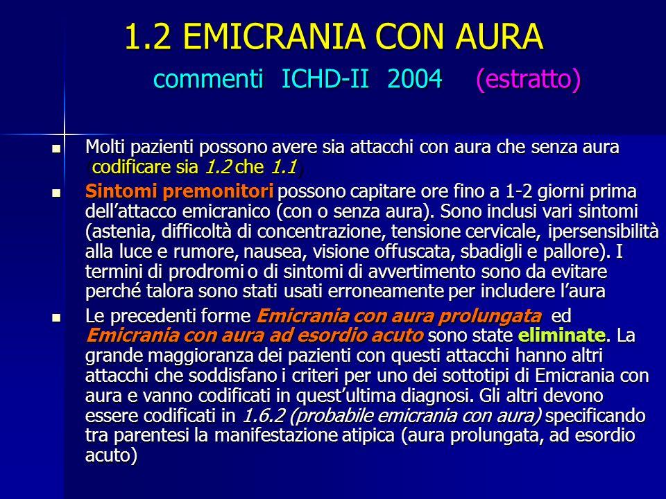 1.2 EMICRANIA CON AURA commenti ICHD-II 2004 (estratto)