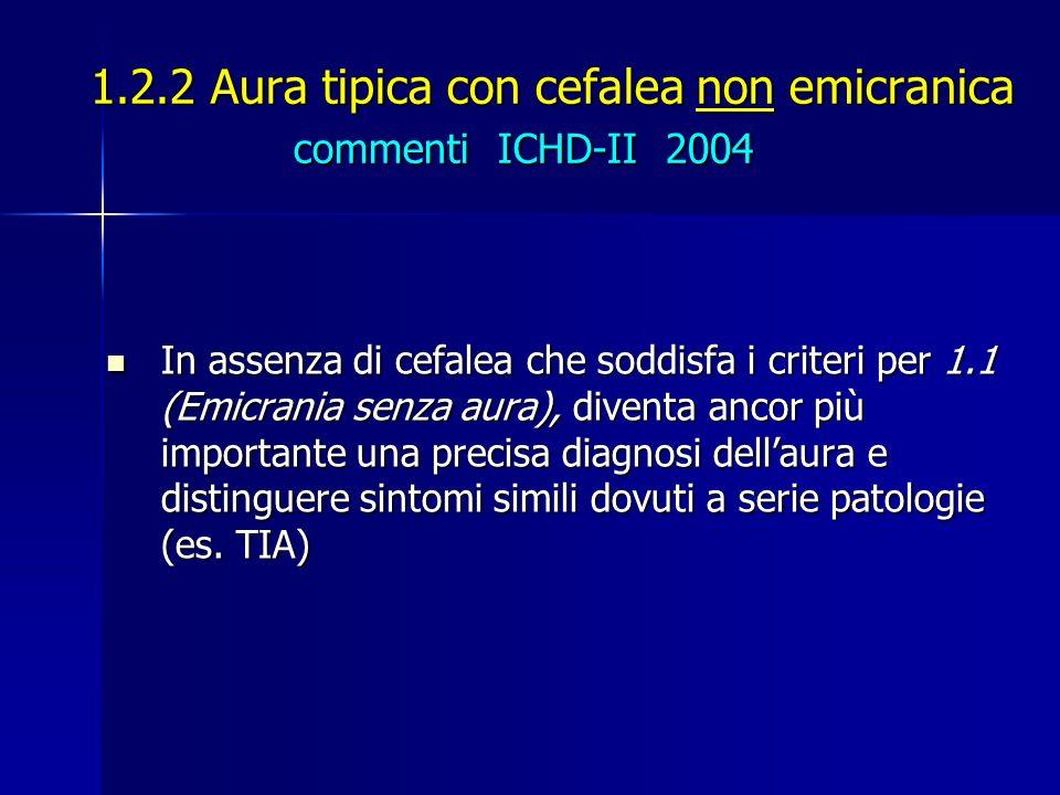 1.2.2 Aura tipica con cefalea non emicranica commenti ICHD-II 2004