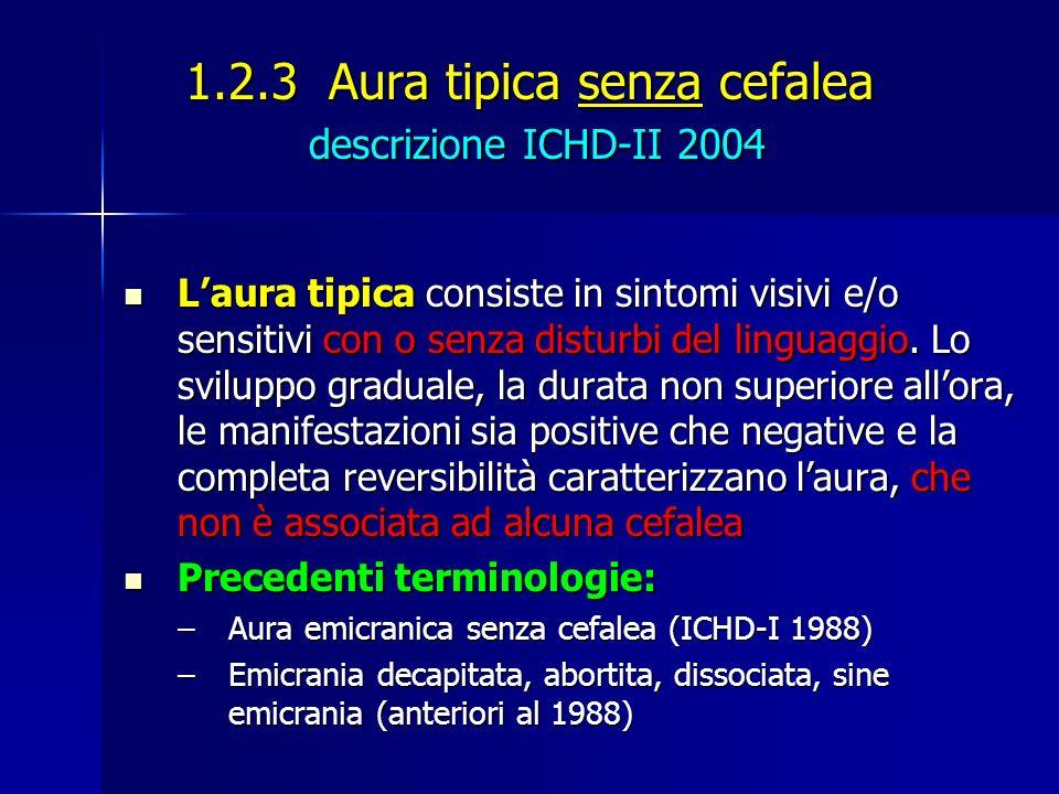 1.2.3 Aura tipica senza cefalea descrizione ICHD-II 2004
