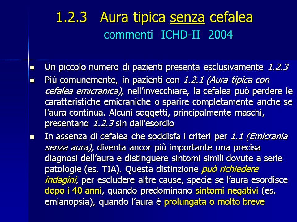 1.2.3 Aura tipica senza cefalea commenti ICHD-II 2004