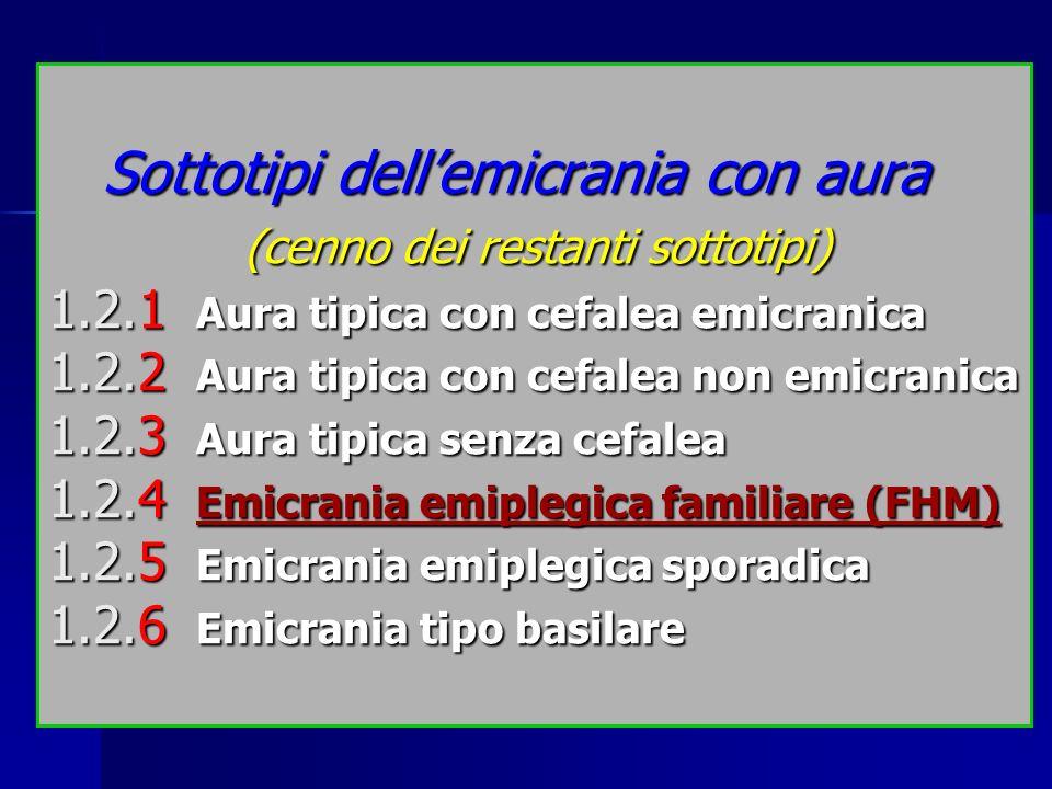 Sottotipi dell'emicrania con aura. (cenno dei restanti sottotipi) 1. 2