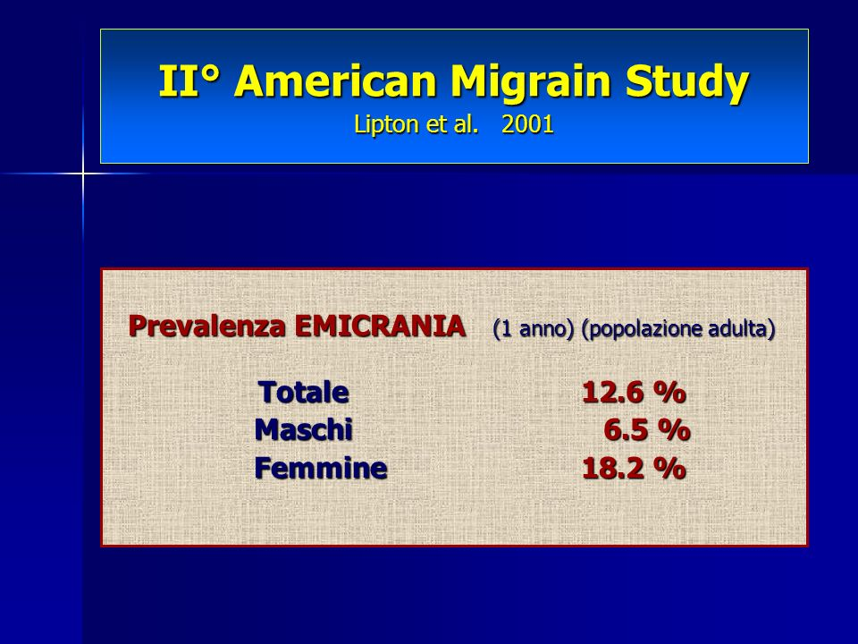II° American Migrain Study Lipton et al. 2001
