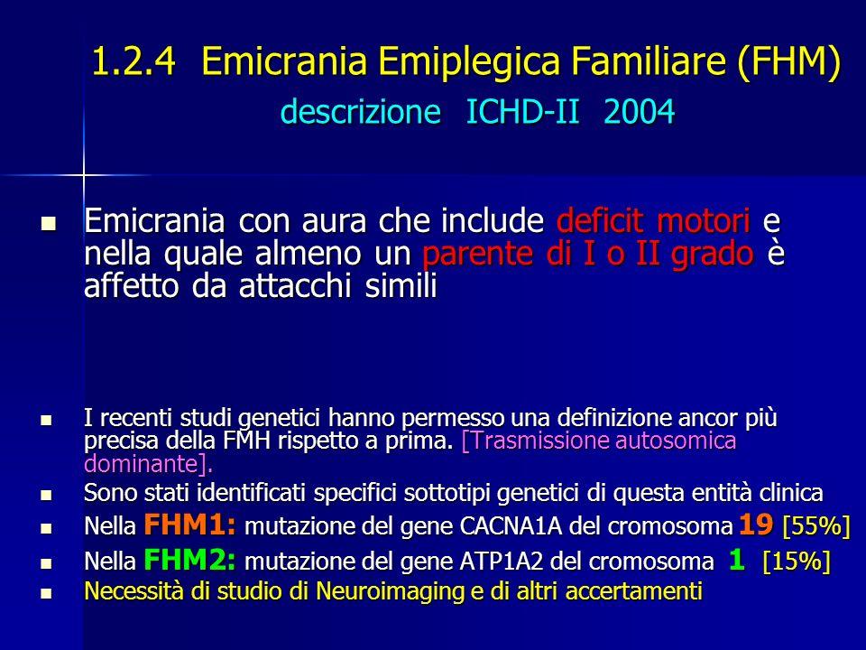 1.2.4 Emicrania Emiplegica Familiare (FHM) descrizione ICHD-II 2004