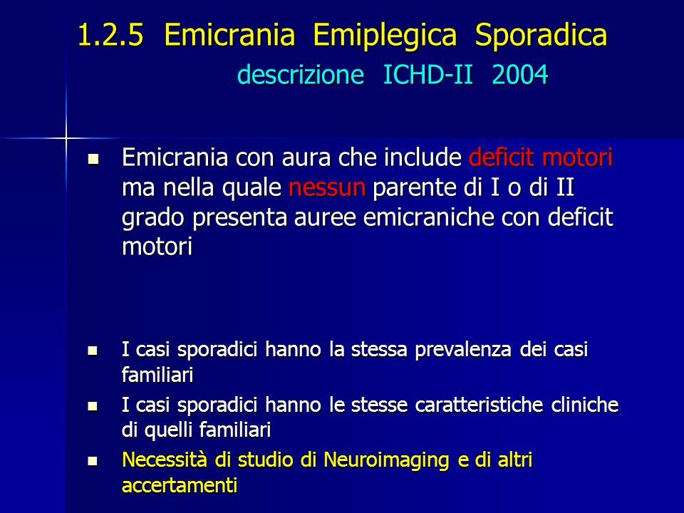 1.2.5 Emicrania Emiplegica Sporadica descrizione ICHD-II 2004