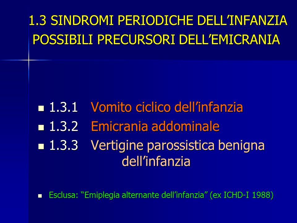 1.3.1 Vomito ciclico dell'infanzia 1.3.2 Emicrania addominale