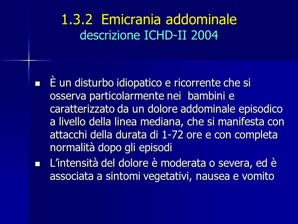 1.3.2 Emicrania addominale descrizione ICHD-II 2004