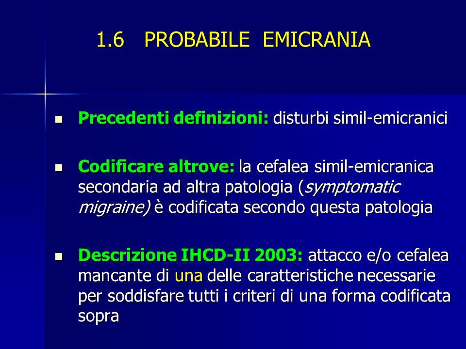 1.6 PROBABILE EMICRANIA Precedenti definizioni: disturbi simil-emicranici.