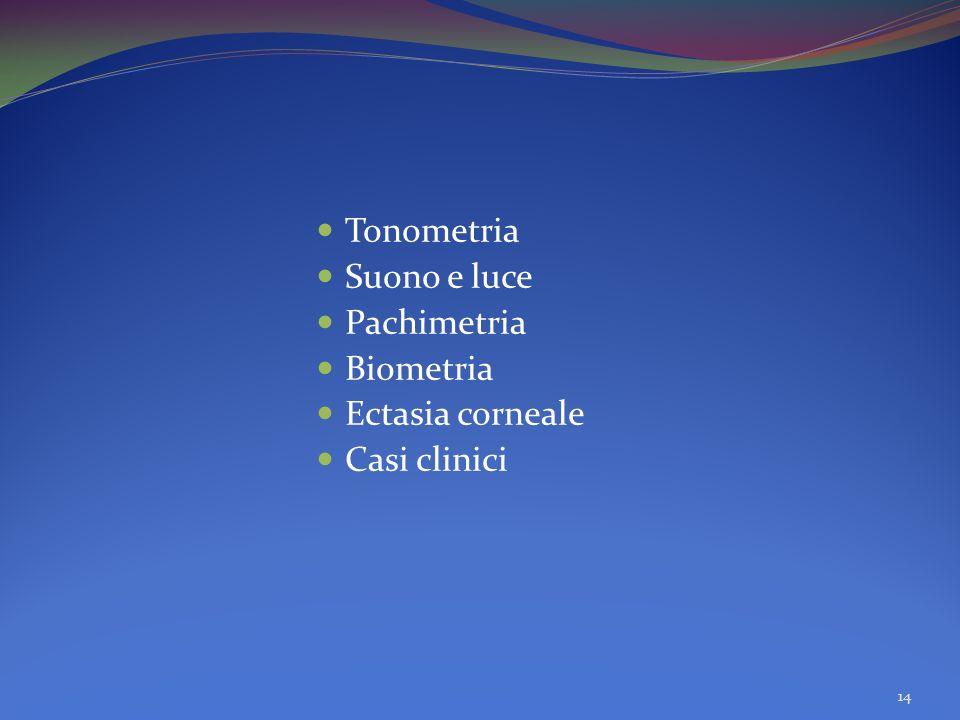 Tonometria Suono e luce Pachimetria Biometria Ectasia corneale Casi clinici