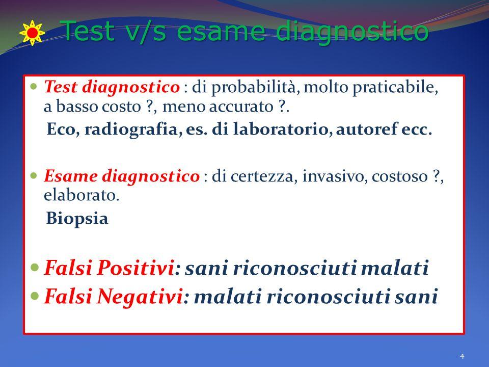 Test v/s esame diagnostico