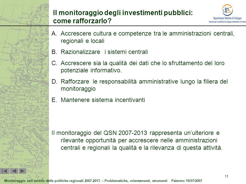 Il monitoraggio degli investimenti pubblici: come rafforzarlo
