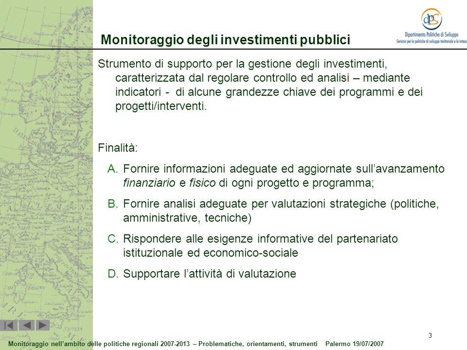 Monitoraggio degli investimenti pubblici