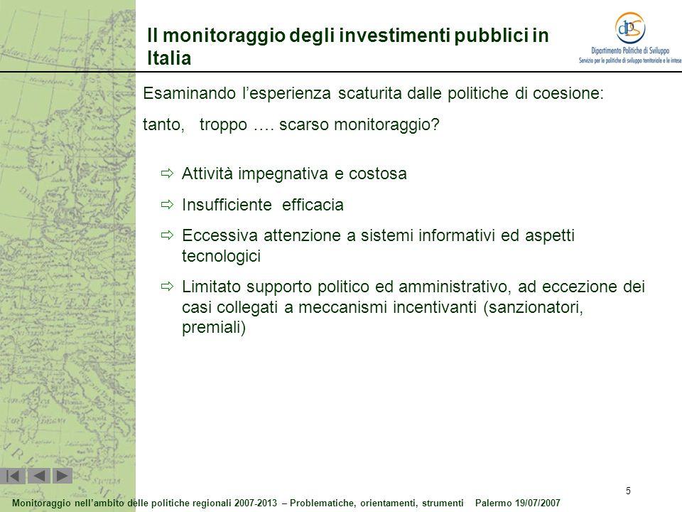 Il monitoraggio degli investimenti pubblici in Italia