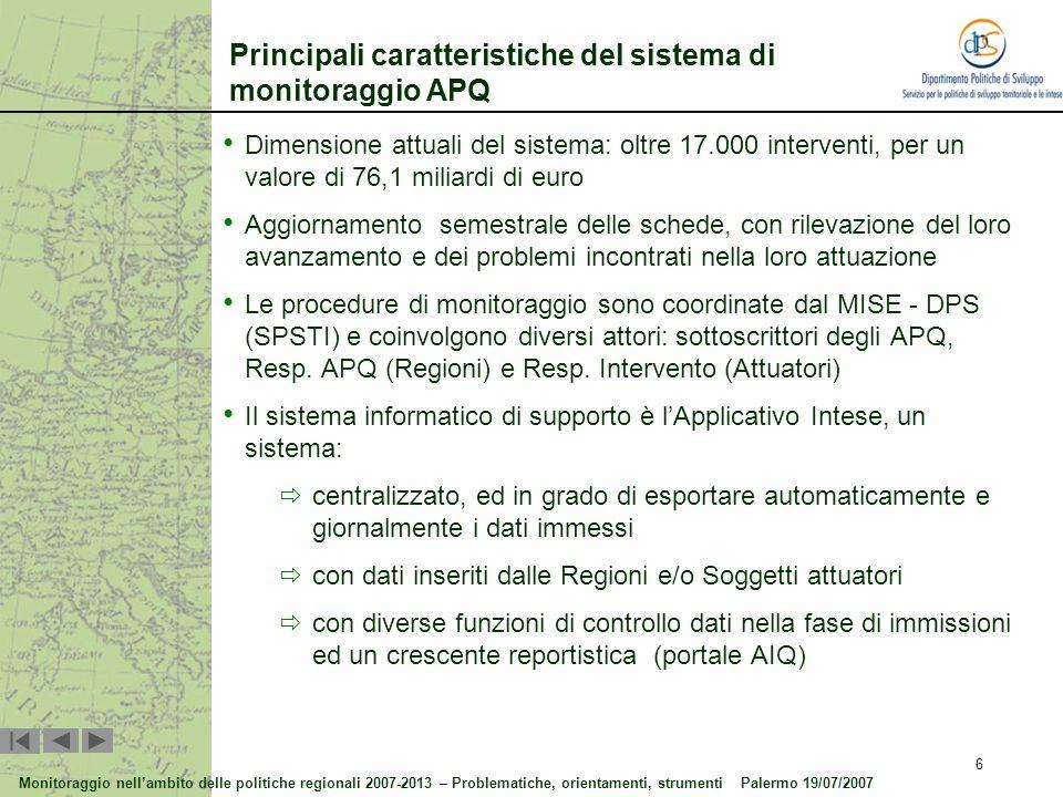 Principali caratteristiche del sistema di monitoraggio APQ