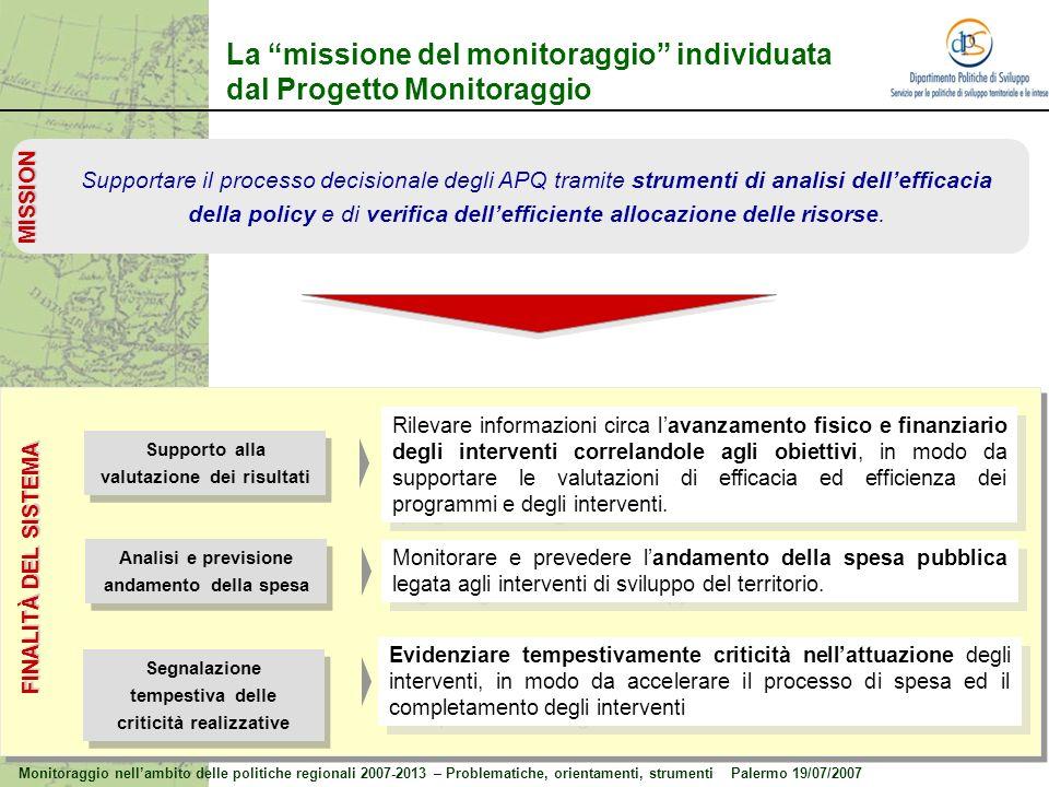 La missione del monitoraggio individuata dal Progetto Monitoraggio