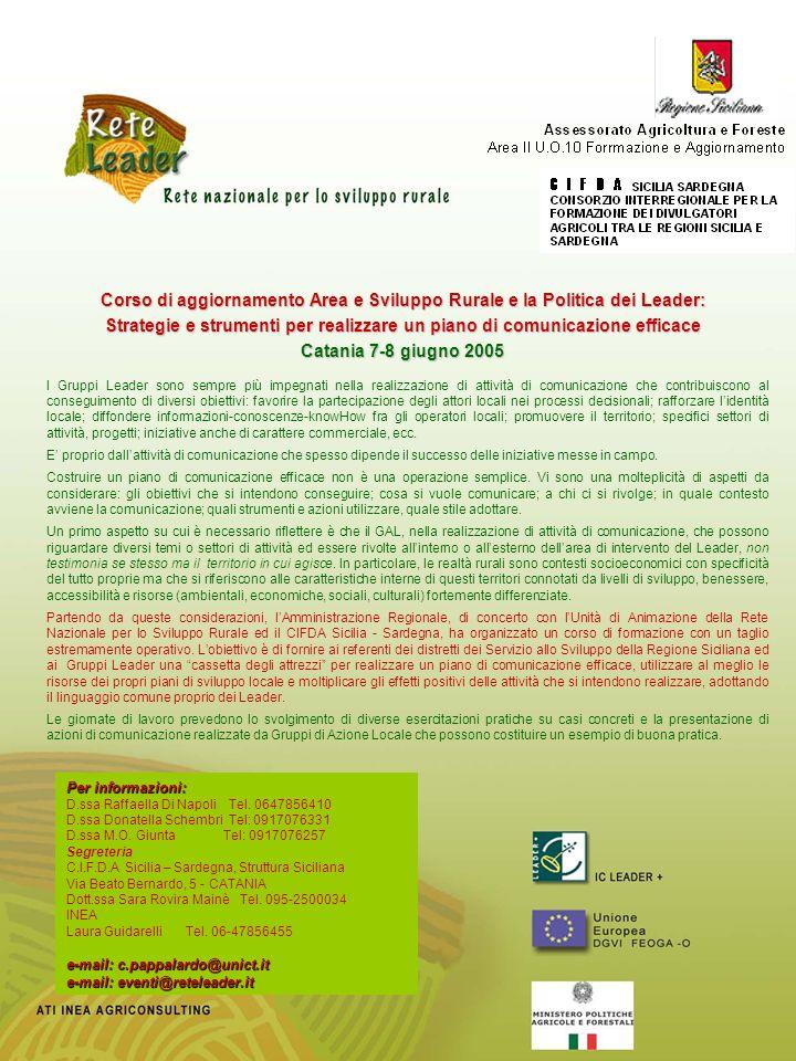 Corso di aggiornamento Area e Sviluppo Rurale e la Politica dei Leader: