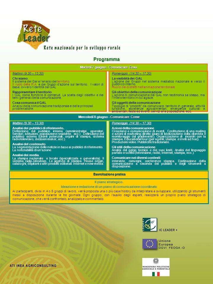 Programma Martedì 7 giugno - Comunicare Cosa Mattino (9.30 – 13.30)
