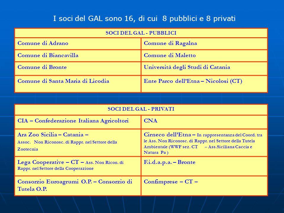 I soci del GAL sono 16, di cui 8 pubblici e 8 privati