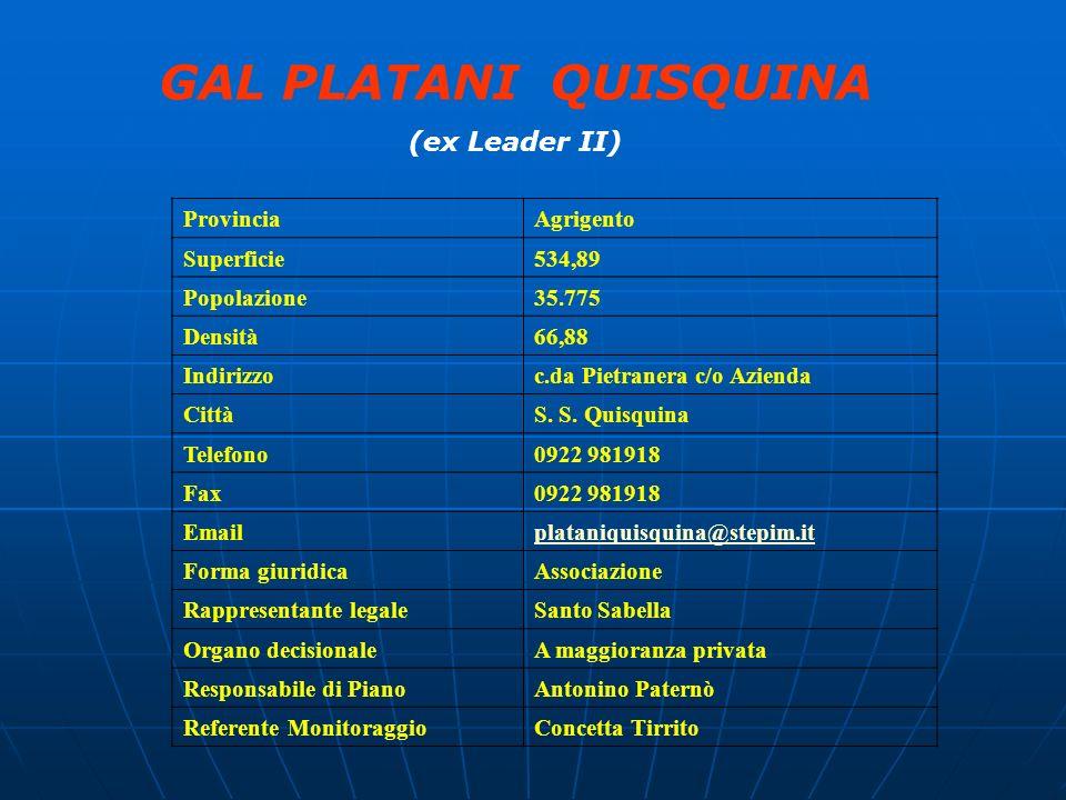 GAL PLATANI QUISQUINA (ex Leader II) Provincia Agrigento Superficie