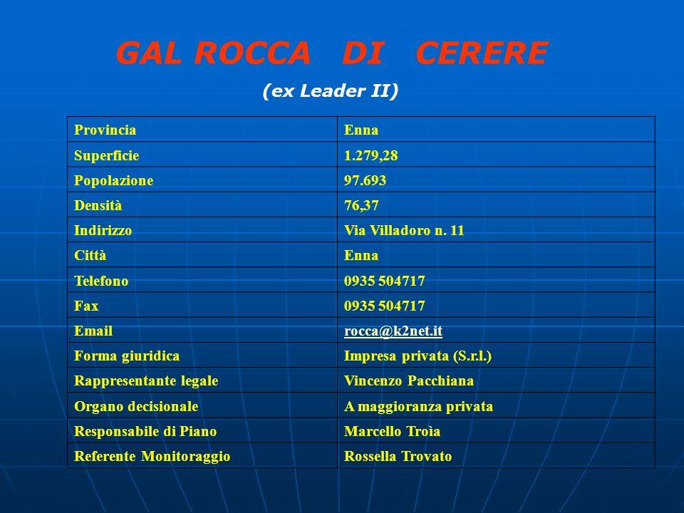 GAL ROCCA DI CERERE (ex Leader II) Provincia Enna Superficie 1.279,28