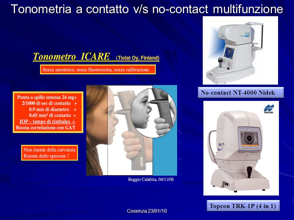 Tonometria a contatto v/s no-contact multifunzione