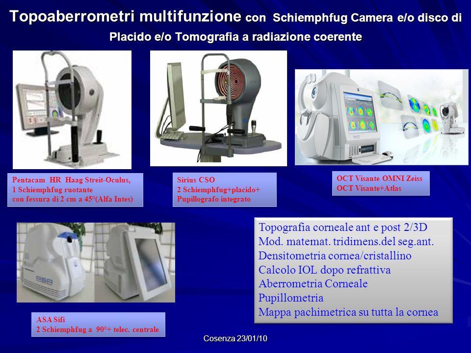 Topoaberrometri multifunzione con Schiemphfug Camera e/o disco di Placido e/o Tomografia a radiazione coerente