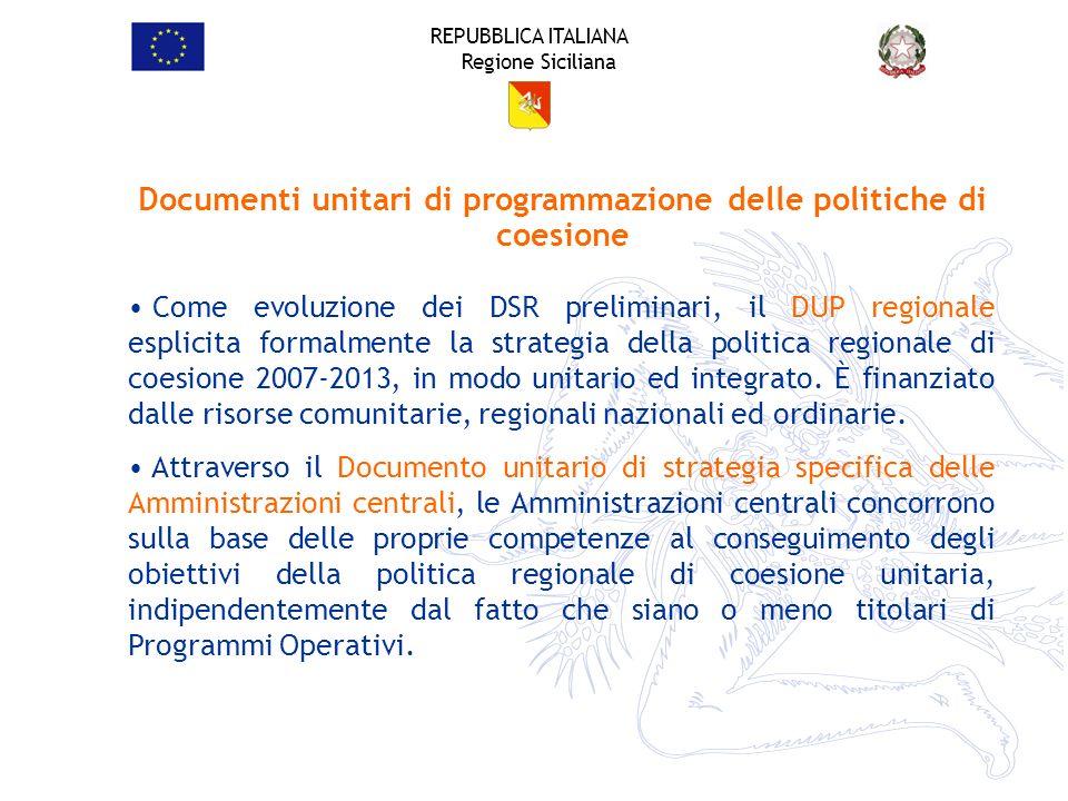 Documenti unitari di programmazione delle politiche di coesione