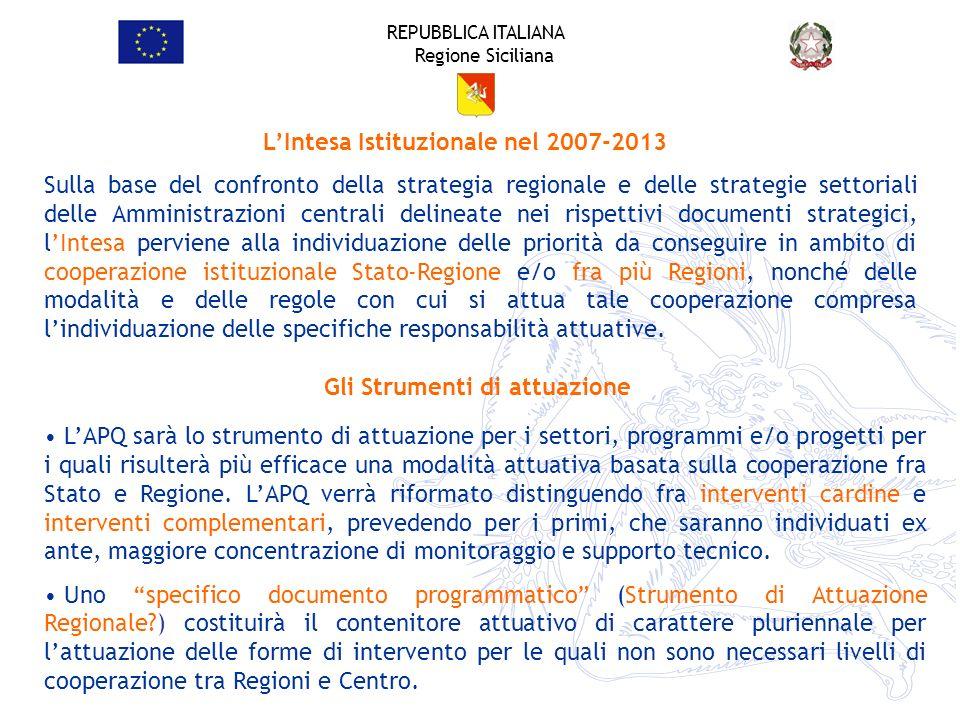L'Intesa Istituzionale nel 2007-2013 Gli Strumenti di attuazione