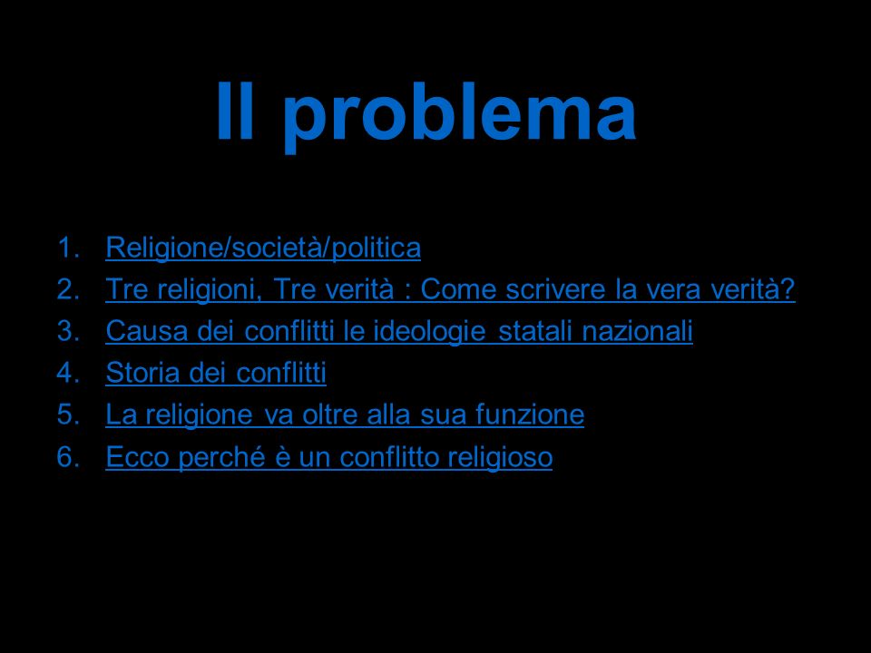 Il problema Religione/società/politica