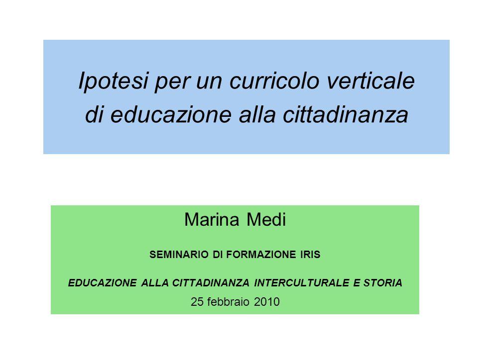 Ipotesi per un curricolo verticale di educazione alla cittadinanza